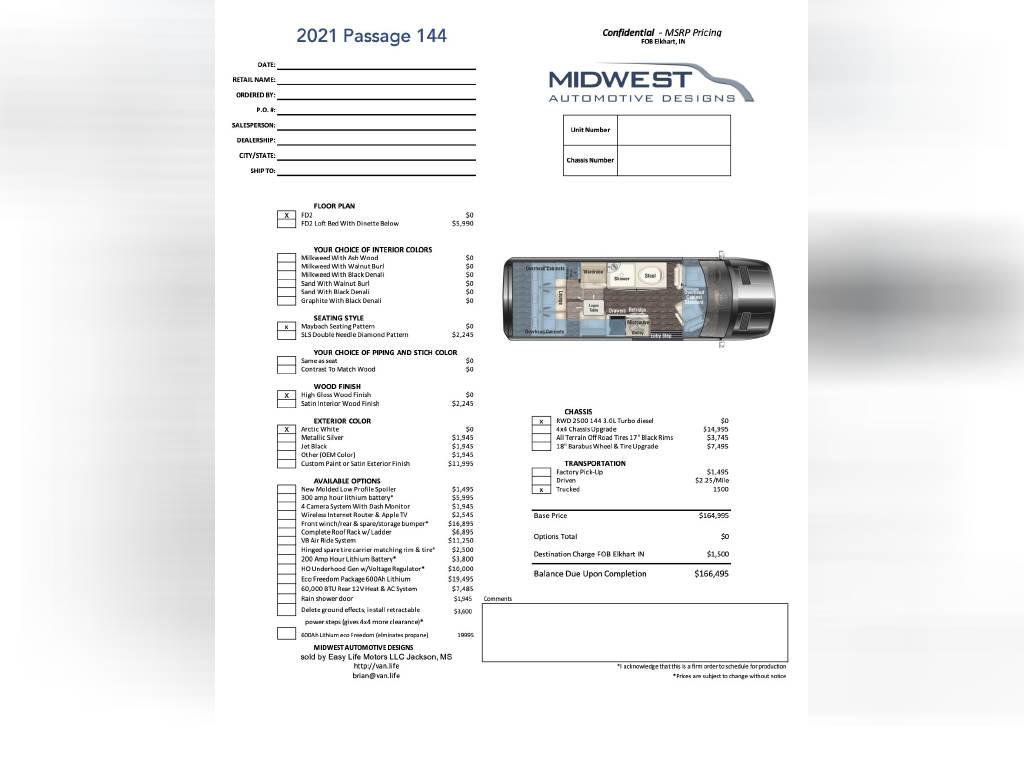 2021 MIDWEST AUTOMOTIVE DESIGNS PASSAGE 144