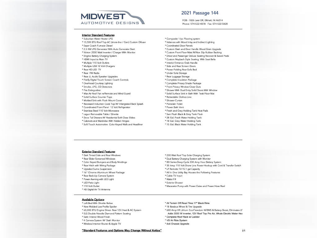 2022 MIDWEST AUTOMOTIVE DESIGNS PASSAGE 144